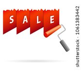 sale banner with red paint... | Shutterstock .eps vector #1061383442