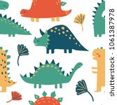 hand drawn dinosaurs and... | Shutterstock .eps vector #1061387978