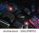 gamer workspace concept with... | Shutterstock . vector #1061398952