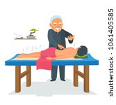 acupuncture body therapy. asian ... | Shutterstock .eps vector #1061405585
