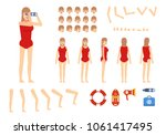 female lifeguard creation kit....   Shutterstock .eps vector #1061417495