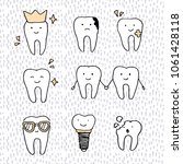 hand drawn set of dental ... | Shutterstock .eps vector #1061428118