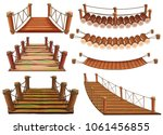 wooden bridges in different... | Shutterstock .eps vector #1061456855