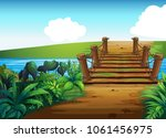 background scene with bridge... | Shutterstock .eps vector #1061456975