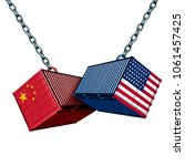 chinese and american tariff war ... | Shutterstock . vector #1061457425