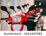 close up of handlebars of many... | Shutterstock . vector #1061465582