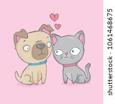 a cute dog and cat who love... | Shutterstock .eps vector #1061468675