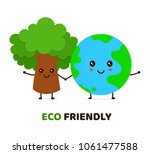 happy cute smiling green tree... | Shutterstock .eps vector #1061477588