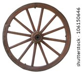 Isolated Vintage Carriage Wheel