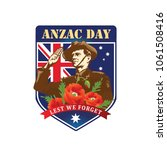 anzac day. soldier salute. lest ... | Shutterstock .eps vector #1061508416