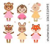 cute dressed woodland animals... | Shutterstock .eps vector #1061510495