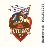 anzac day. soldier salute. lest ... | Shutterstock .eps vector #1061511266