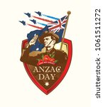 anzac day. soldier salute. lest ... | Shutterstock .eps vector #1061511272