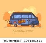minivan driving through... | Shutterstock .eps vector #1061551616