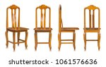 set of wooden chair isolated on ... | Shutterstock . vector #1061576636