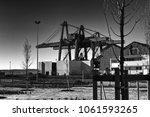 industrial old cranes landscape | Shutterstock . vector #1061593265