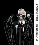 politician and microphones | Shutterstock . vector #1061608025