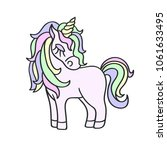 hand drawing pink unicorn with... | Shutterstock .eps vector #1061633495