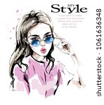 fashion woman in sunglasses.... | Shutterstock .eps vector #1061636348