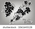 set of black grapes stickers on ... | Shutterstock .eps vector #1061643128