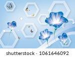 3d flower abstraction wallpaper ...   Shutterstock . vector #1061646092