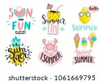set of cute summer hand drawn... | Shutterstock .eps vector #1061669795