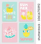 cute set of bright summer cards ... | Shutterstock .eps vector #1061670392