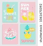 cute set of bright summer cards ... | Shutterstock .eps vector #1061670392