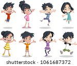 group of happy cartoon asian... | Shutterstock .eps vector #1061687372