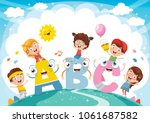 vector illustration of kids and ... | Shutterstock .eps vector #1061687582