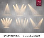 set of golden spotlight... | Shutterstock .eps vector #1061698505