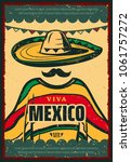 viva mexico retro poster for... | Shutterstock .eps vector #1061757272