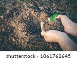 hand for planting trees back to ... | Shutterstock . vector #1061762645