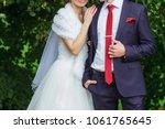 elegant bridegroom embraces the ... | Shutterstock . vector #1061765645