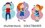kid are playing colourful... | Shutterstock .eps vector #1061786405