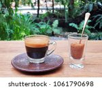hot espresso coffee and the... | Shutterstock . vector #1061790698