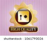 gold badge or emblem with safe ... | Shutterstock .eps vector #1061793026