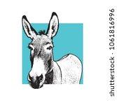 donkey   black and white... | Shutterstock .eps vector #1061816996