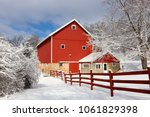 Rural Landscape With Red Barn ...