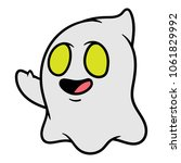 cartoon waving ghost emoticon | Shutterstock .eps vector #1061829992