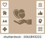 heart care icon with bonus... | Shutterstock .eps vector #1061843222