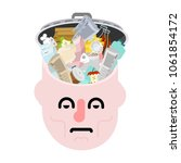 garbage in head. rubbish in... | Shutterstock .eps vector #1061854172