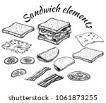 sketch of sandwich. hand drawn... | Shutterstock .eps vector #1061873255