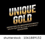 Vector mat text Unique Gold. Metallic gradient Font. Rotated exclusive Alphabet Letters, Numbers and Symbols