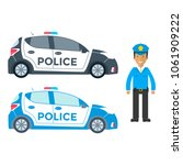 vector police car side view and ... | Shutterstock .eps vector #1061909222