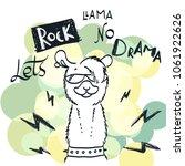 cute card with cartoon llama.... | Shutterstock . vector #1061922626