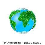 3d globe  isolated green planet ... | Shutterstock . vector #1061956082