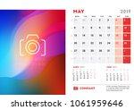 may 2019. desk calendar design... | Shutterstock .eps vector #1061959646