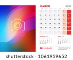 march 2019. desk calendar...   Shutterstock .eps vector #1061959652