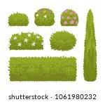 green bushes set. low plant... | Shutterstock .eps vector #1061980232